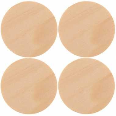 12x houten schijven om te schilderen 9 cm