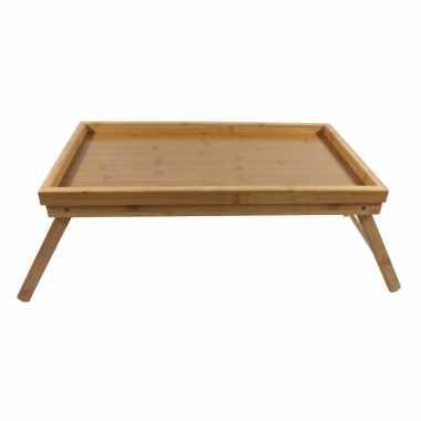 1x bamboe ontbijt op bed dienbladen/tafeltjes 50 x 30 cm