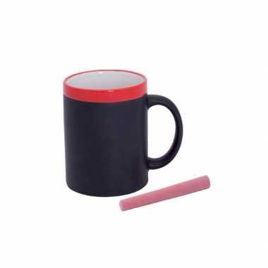 2x beschrijfbare mok met krijtje rood