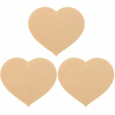 3x houten hartjes om te schilderen 12 x 10 cm