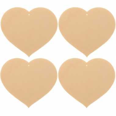 4x houten hartjes om te schilderen 8 x 7 cm