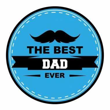 60x stuks vaderdag bierviltjes the best dad ever onderzetters blauw