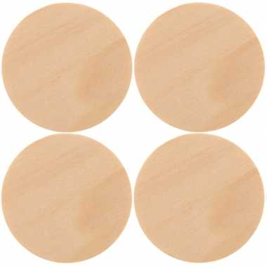 8x houten schijven om te schilderen 9 cm