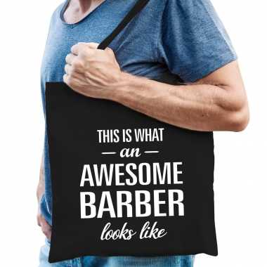 Awesome barber / kapper cadeau tas zwart voor heren