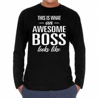 Awesome boss / baas cadeau t-shirt long sleeves heren