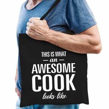 Awesome cook / kok cadeau tas zwart voor heren