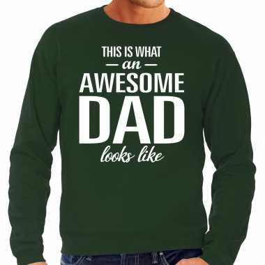 Awesome dad cadeau sweater groen heren - vaderdag cadeau