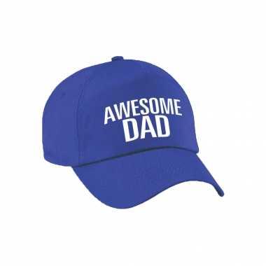 Awesome dad pet / cap voor papa / vaderdag blauw voor heren