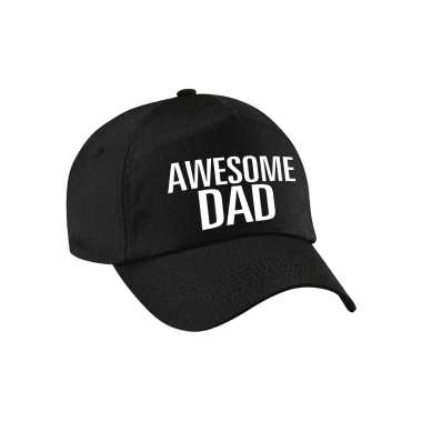 Awesome dad pet / cap voor papa / vaderdag zwart voor heren