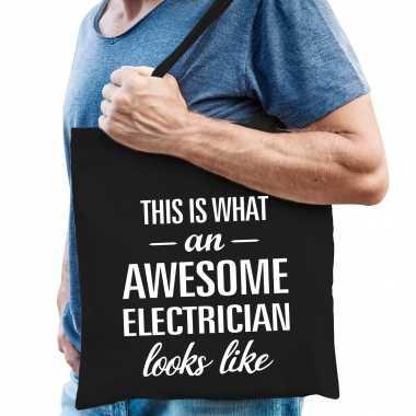 Awesome electrician / loodgieter cadeau tas zwart voor heren