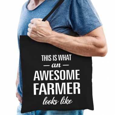 Awesome farmer / boer cadeau tas zwart voor heren
