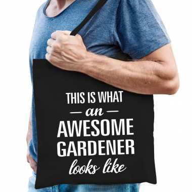 Awesome gardener / hovenier cadeau tas zwart voor heren