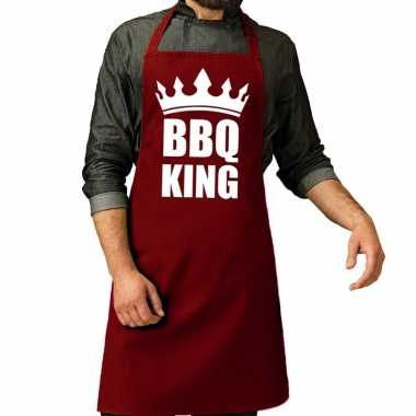 Bbq king barbeque schort / keukenschort bordeaux rood voor heren
