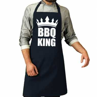 Bbq king barbeque schort / keukenschort navy voor heren