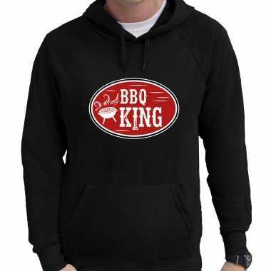 Bbq king cadeau hoodie zwart voor heren