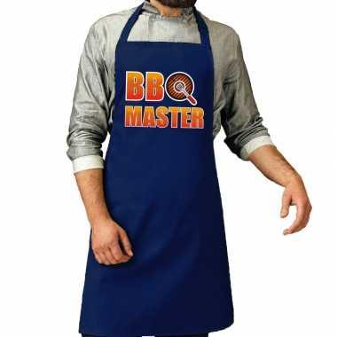 Bbq master barbeque schort /keukenschort kobalt blauw voor heren