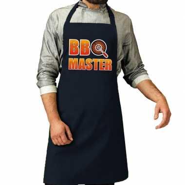 Bbq master barbeque schort / keukenschort navy voor heren
