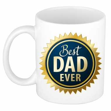 Best dad ever blauwe rozet vaderdag cadeau mok / beker wit