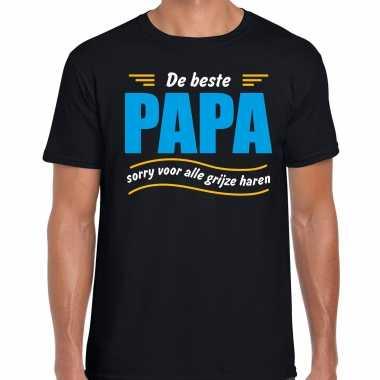 Beste papa sorry voor alle grijze haren vaderdag cadeau t-shirt zwart voor heren