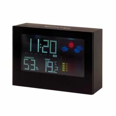 Bureau weerstation met alarmklok zwart 12 cm