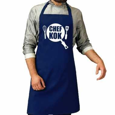 Chef kok barbeque schort / keukenschort kobalt blauw voor her