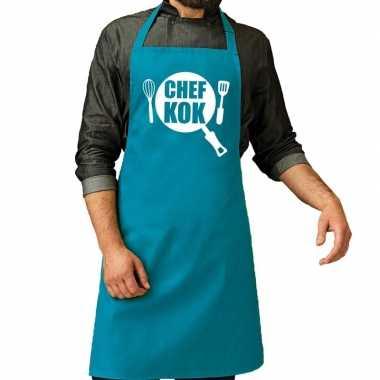 Chef kok barbeque schort / keukenschort turquoise blauw voor her