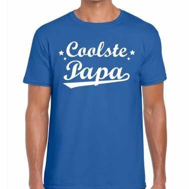 Coolste papa cadeau t-shirt blauw voor heren