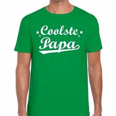 Coolste papa cadeau t-shirt groen voor heren