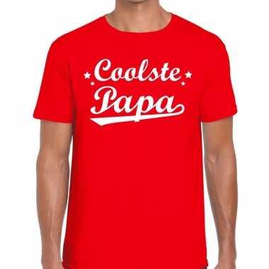 Coolste papa cadeau t-shirt rood voor heren