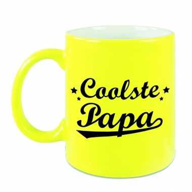 Coolste papa mok / beker neon geel voor vaderdag/ verjaardag 330 ml