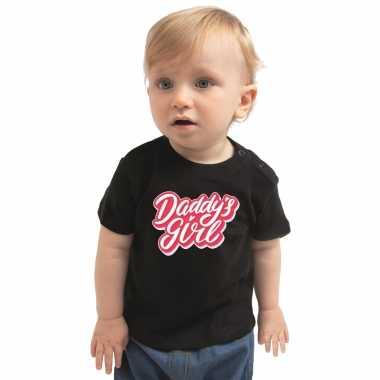 Daddys girl geboorte cadeau t-shirt zwart voor babys