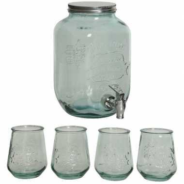 Giftbox met sap/limonade/water dispenser en 4x luxe drink glazen