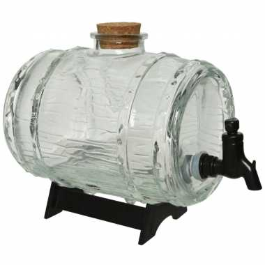 Glazen drank/water/sap dispensers ton op standaard 24 cm
