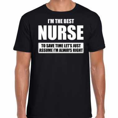 I'm the best nurse t-shirt zwart heren - de beste verpleger cadeau