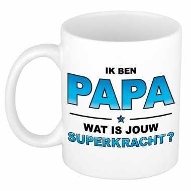 Ik ben papa wat is jouw superkracht kado mok / beker voor vaderdag / verjaardag