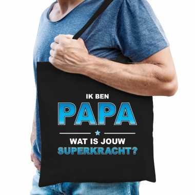 Ik ben papa wat is jouw superkracht tasje zwart voor heren - vaderdag cadeau tas papa