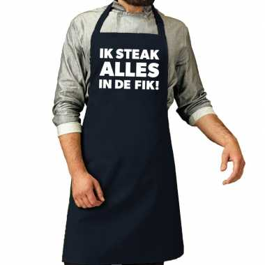 Ik steak alles in de fik! barbeque schort / keukenschort navy vo