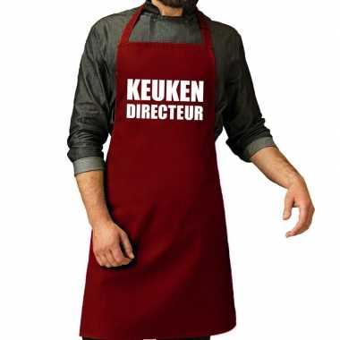 Keuken directeur barbeque schort / keukenschort bordeaux rood vo