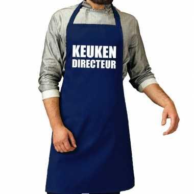 Keuken directeur barbeque schort / keukenschort kobalt blauw her