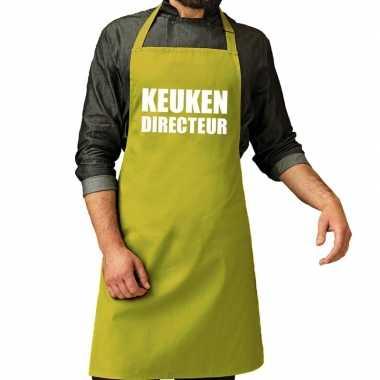 Keuken directeur barbeque schort / keukenschort lime groen heren