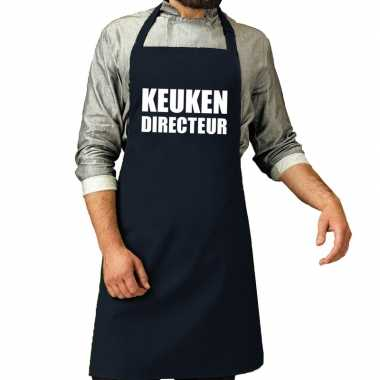 Keuken directeur barbeque schort / keukenschort navy voor heren