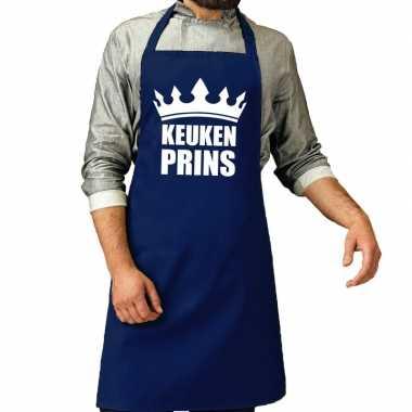 Keuken prins barbeque schort / keukenschort kobalt voor heren