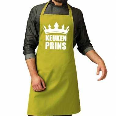 Keuken prins barbeque schort / keukenschort lime groen heren