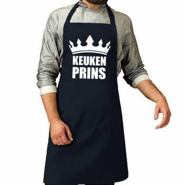 Keuken prins barbeque schort / keukenschort navy voor heren