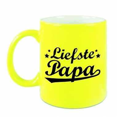 Liefste papa mok / beker neon geel voor vaderdag/ verjaardag 330 ml