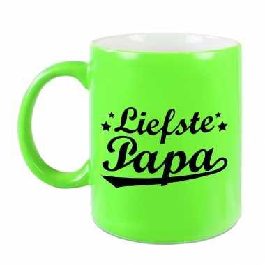 Liefste papa mok / beker neon groen voor vaderdag/ verjaardag 330 ml