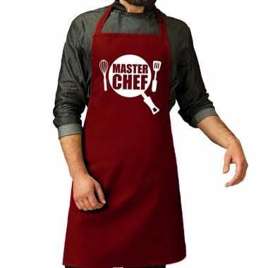 Master chef barbeque schort / keukenschort bordeaux rood heren