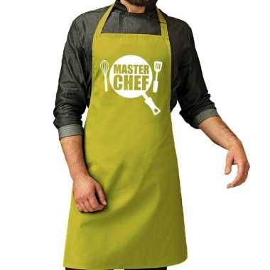 Master chef barbeque schort / keukenschort lime groen voor