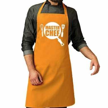 Master chef barbeque schort / keukenschort oker geel heren