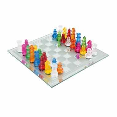 Mini schaakspel van glas